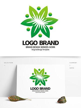 原创绿色花朵绿化公司LOGO标志设计