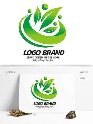 矢量绿叶飞鸟环保绿化LOGO标志设计