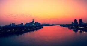 中国广东佛山世纪莲体育中心黄昏美景