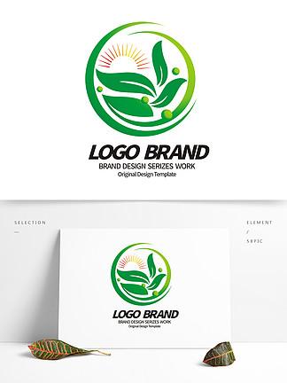 矢量创意绿叶logo环保绿化公司LOGO