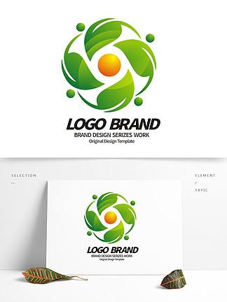 矢量创意绿叶logo字母C绿化LOGO