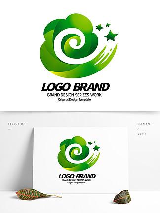 简约大气绿色花朵祥云e字母绿化LOGO