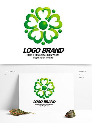 矢量创意绿色心形花朵绿化LOGO标志设计