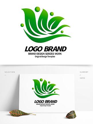 简约大气绿叶飞鸟绿化LOGO标志设计