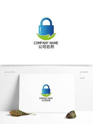 蓝色渐变锁图标logo