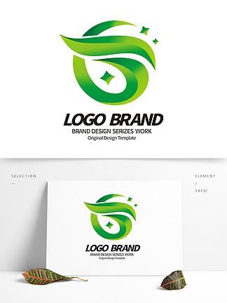 创意绿叶logo字母T绿化环保公司标志