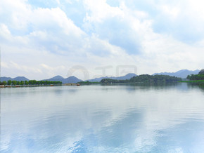 杭州西湖自然风光地平线摄影图