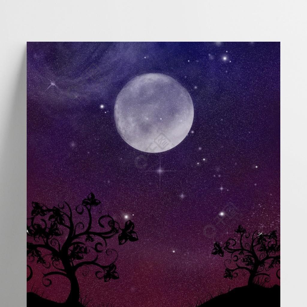 山川陆地星空月亮背景图