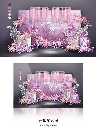 粉色紫色白色粉紫色小清新唯美婚礼效果图