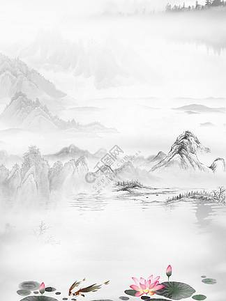 中国风水墨工笔背景