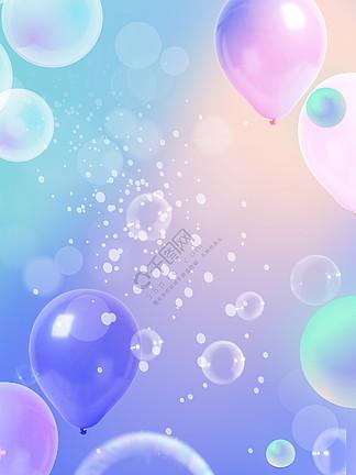 唯美紫色泡泡小清新渐变背景海报