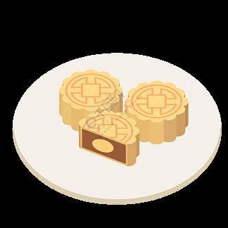 矢量图中秋节月饼一盘