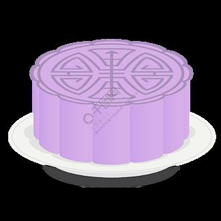 矢量图卡通紫色中秋节月饼