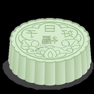 矢量图蓝色立体中秋节月饼