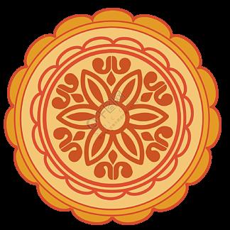矢量图手绘花纹中秋节月饼