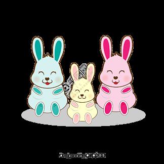 粉红色的小兔子全家福