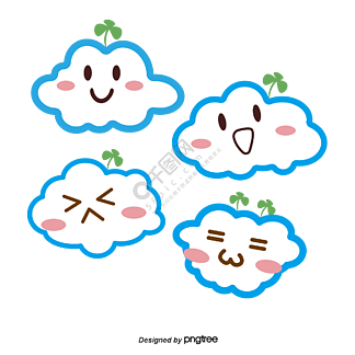 长三叶草可爱表情包云平面矢量图
