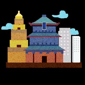 西安钟楼 大雁塔 电视塔图片