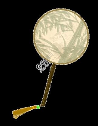 手绘古风竹子扇子插画