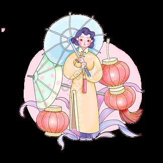 春节新春唐装棉袄可爱少女伞PNG
