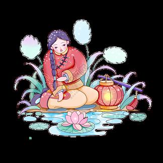 早春新年南方少女红色棉袄广东逛花市PNG