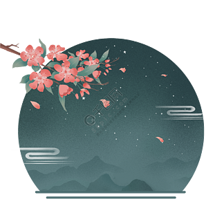 中国风古风手绘插画水墨山水花枝花瓣免抠PNG元素
