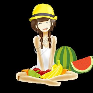 二十四节气之大暑手绘女孩与水果