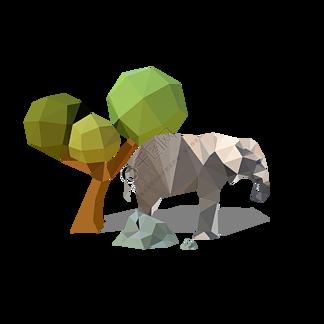 低多边形休息的大象