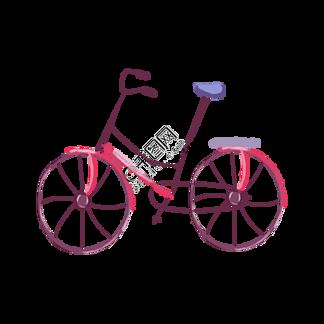 手绘卡通粉色自行车
