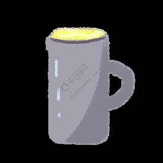 手绘卡通灰色杯子啤酒杯