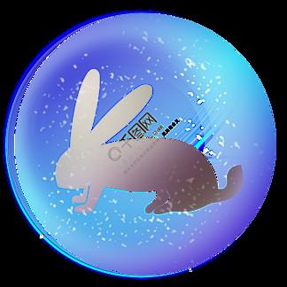 光感蓝紫色气泡兔子金色简约电商装饰PNG免扣