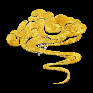 中国风传统烫金花纹祥云装饰图之烟雾祥云