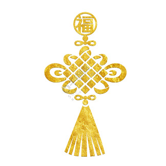 中国风传统烫金花纹中国结福字装饰图
