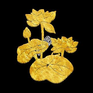 中国风传统烫金鲜花花纹装饰图之双荷花