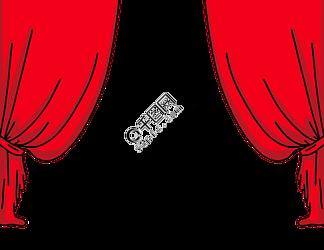 卡通手绘红色的幕布
