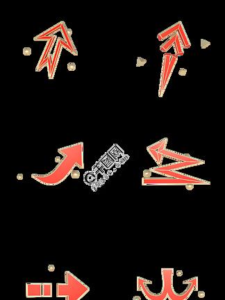 C4D立体红金色装饰箭头合集