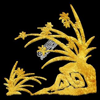 中国风传统烫金鲜花花纹装饰图之兰花草