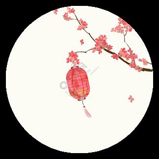 中国风花枝灯笼装饰元素