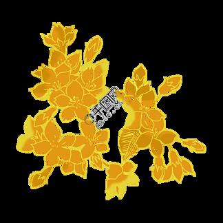 手绘插图金色花朵PSD源文件