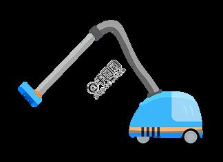 蓝色的吸尘器插画