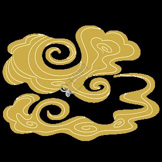 云彩云中国风云纹芥黄色