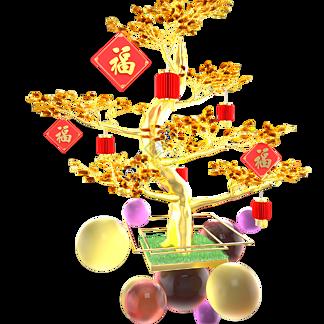 金色装饰福字发财树