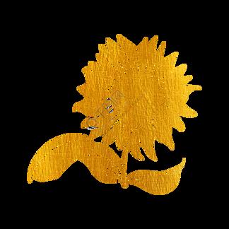 剪纸烫金花草向日葵
