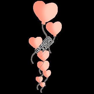 飞起的爱心气球卡通手绘素材免费下载
