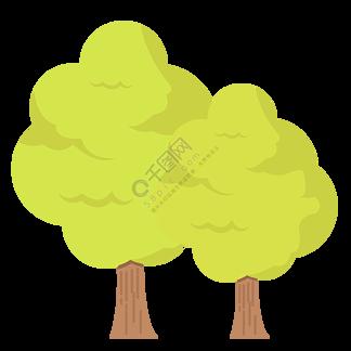 一组茂密绿树成荫郁郁葱葱的树木免扣素材