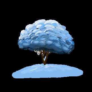 简约手绘下雪后的小树插画海报免抠元素