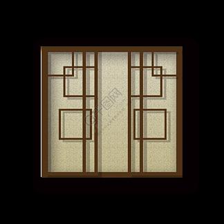 中国风的棕色窗户插画海报网页免抠元素