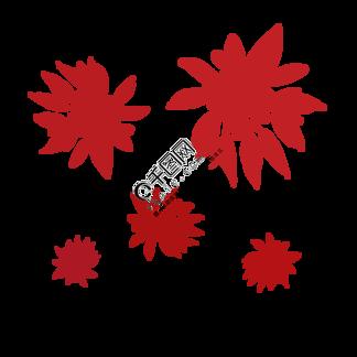 简约红色植物海报免抠元素