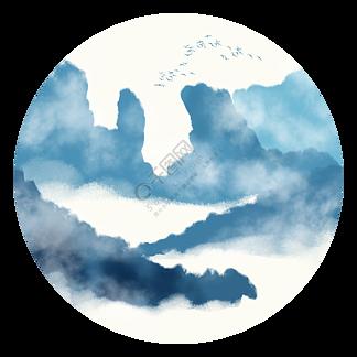 中国风青色水墨山水装饰元素