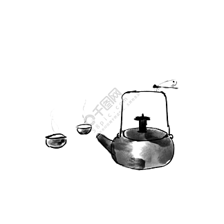 中国风茶壶蜻蜓装饰元素